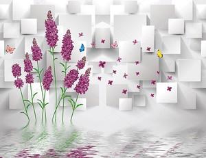 Цветки лаванды,  летающие красочные бабочки,