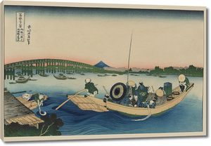 Кацусика Хокусай. Вечерний свет над мостом Рёгоку с берега реки Оммаягаси