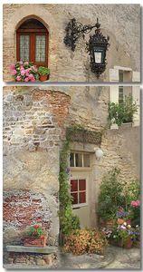 Кирпичный дом с цветами