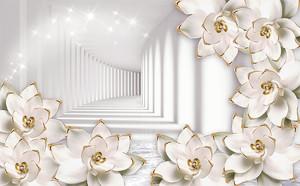 Цветы с золотыми ободками и тоннель