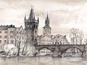 Карлов Мост, пастель