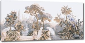 Райский сад с павлинами