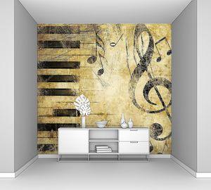 Гранж-фон со скрипичным ключом