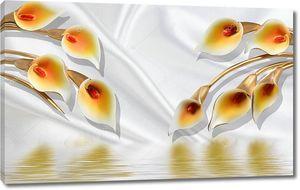 3d иллюстрация, белый фон ткани, желто-оранжевые большие цветы калла, отражение в воде
