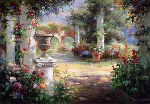 Цветочный парк солнечным утром