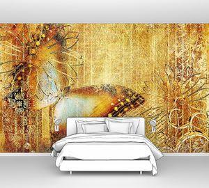 Произведения искусства в золотых цветах с бабочкой