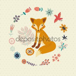 Симпатичные лисичка и цветы