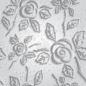 Абстрактные 3d белый фон. Бумажные розы с падение
