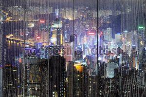 Гонконг с пика Виктории ночью