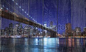 Бруклинский мост и горизонт в ночное время