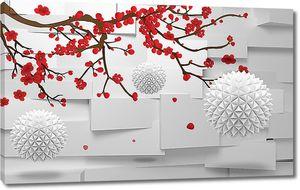 Красная ветка с колючими шарами