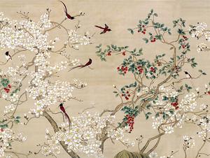 Японские птички среди цветущих ветвей