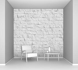 Квадрат белой кирпичной стены