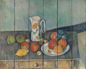Поль Сезанн. Натюрморт, кувшин для молока и фрукты на столе