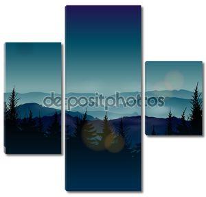 Туманный хвойные леса