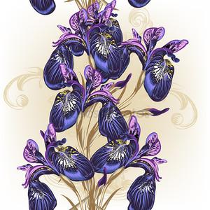 цветочный бесшовный образец обоев с фиолетовыми цветами