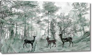 Черные олени в зеленом лесу