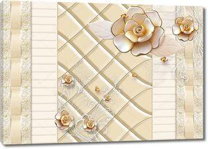 Позолоченные розы и золотые бабочки на плитке