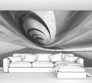 Темно-бетонная комната. Современный архитектурный дизайн. Городской текстурированный фон. Трехмерная иллюстрация