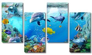 Дельфины с яркими рыбками