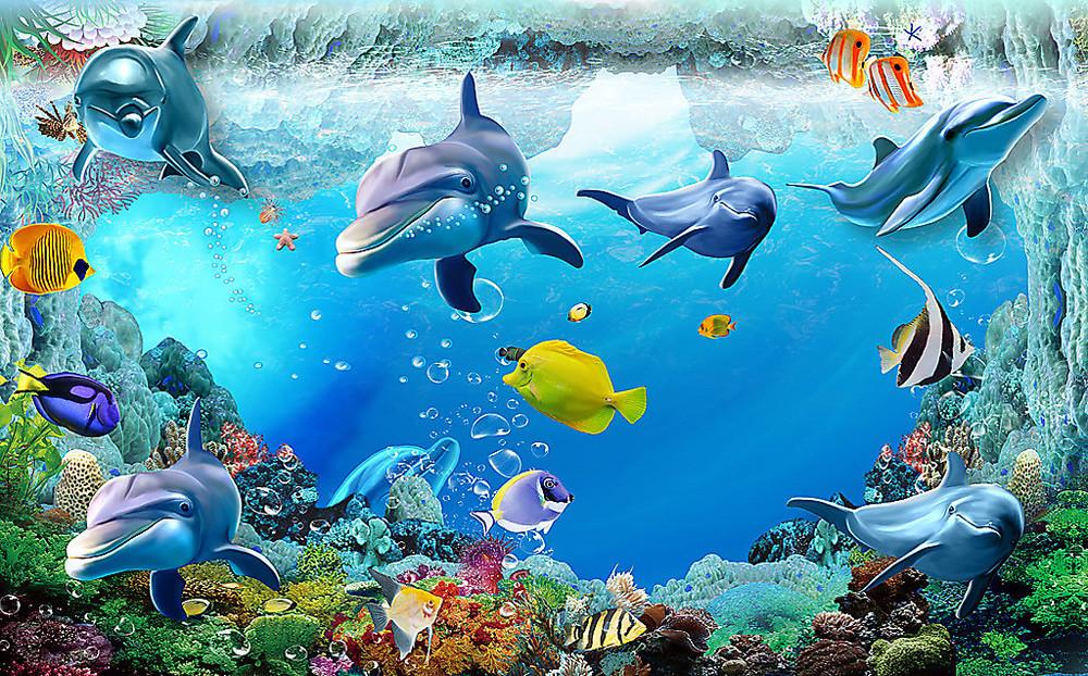 Фотообои «Дельфины с яркими рыбками», купить в интернет-магазине «Первое Ателье»™