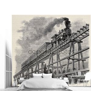 Train upon bridge