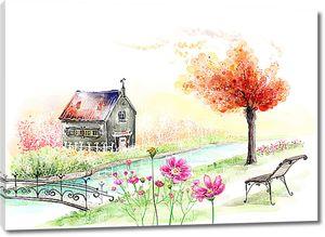 Домик и скамейка на реке