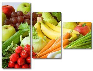 Ассортимент свежих овощей и фруктов