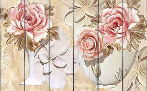Розы в вазочках из гипса