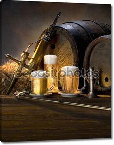 Старинные бочки с пивом