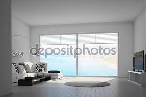 Mediteran интерьер с большими окнами