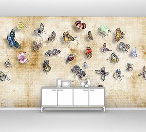Бабочки на штукатурке