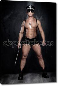 Концептуальное фото мускулистые, хорошо ищет сотрудника полиции над t