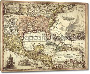 Старая карта с кораблем