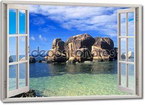 Окно открыть вид на побережье моря