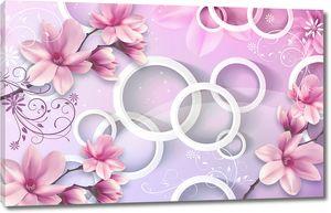 Нежные цветы на фоне кругов