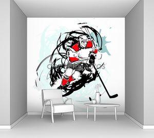 игрок хоккея с шайбой