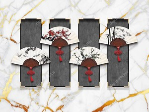 Мраморный фон, серые прямоугольники с восточными веерами