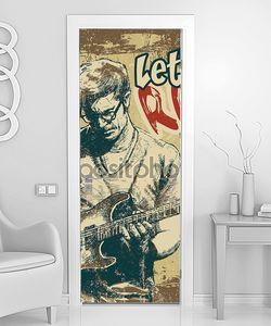 Ретро дизайн «Давай рок!» с гитаристом