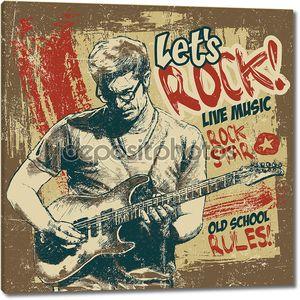 ретро дизайн «давайте рок!» с гитаристом