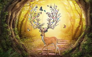 Олень в волшебном лесу