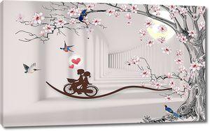 Дерево с уходящим тоннелем и парочкой на велосипеде