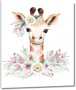 Жираф с венком из цветов