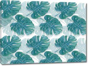 Зеленые тропические листья на белом фоне, абстрактная иллюстрация