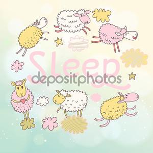 смешной овец на облака в векторных карт.