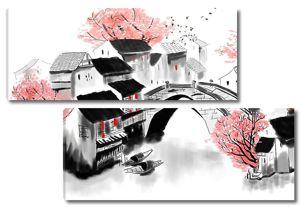 Рисунок китайской деревни