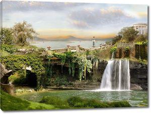 Невероятный вид на водопад на набережной