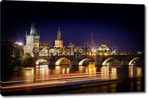 Ночной выстрел из Карлова моста и реки в Праге