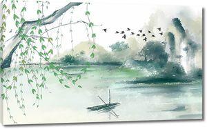 Озеро и скалы в зеленоватых тонах