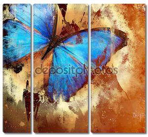 Фон в стиле гранж с бабочкой